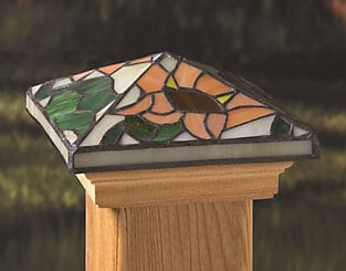 Maine Ornamental Tiffany post cap, Sunflower stained glass style