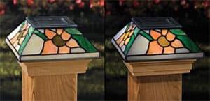 Tiffany Solar Light Post Cap, Tiffany sungflower solar light